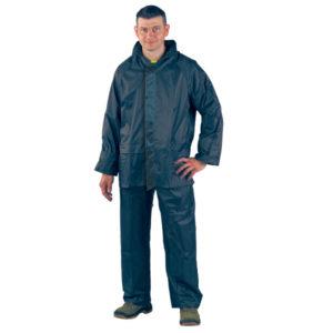 Ensemble de pluie Kway Navy de la marque Europrotection: Veste + Pantalon enpolyamide enduit PVC souple. Imperméable. Coutures étanches. Capuche intégrée. Serrage aux extrémités.